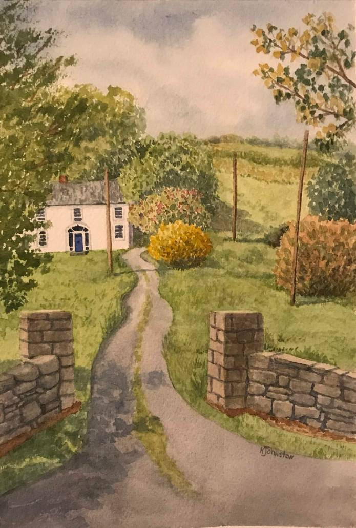 watercolor of white house in Irish countryside
