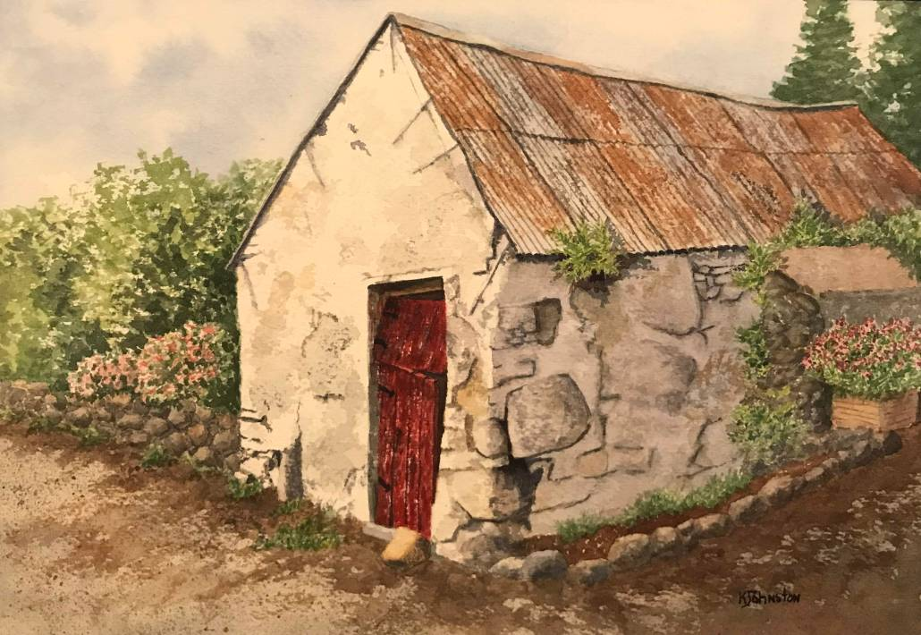 watercolor of weathered stone building in Ireland