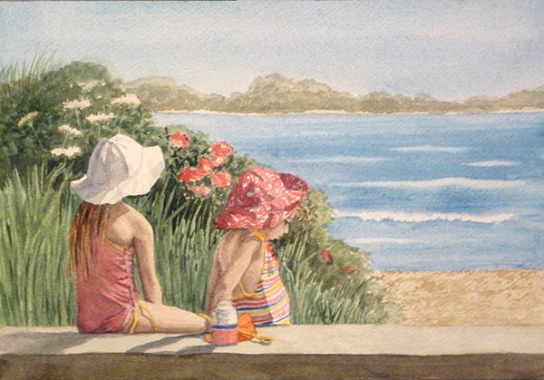 watercolor of two girls at the beach