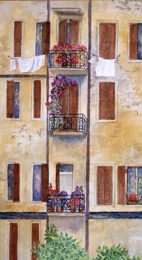 watercolor of flower filled balconies in Florence