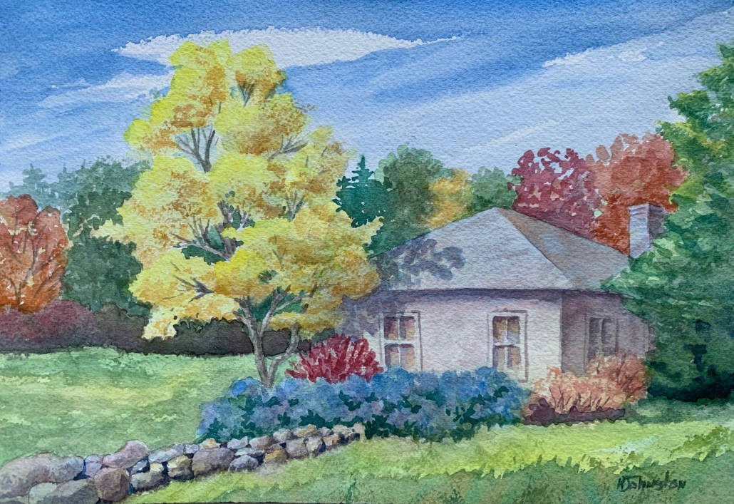 watercolor of fall trees, hydrangeas, stone wall, shed