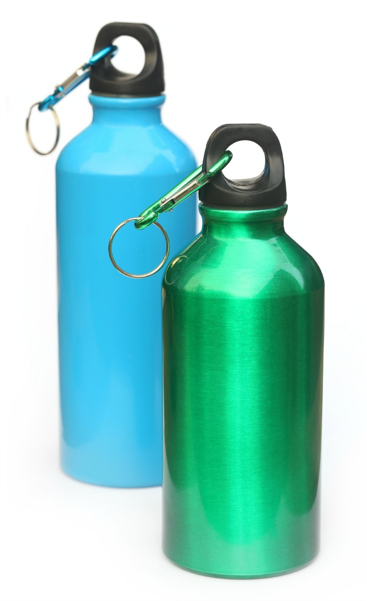 Two water bottle over white background