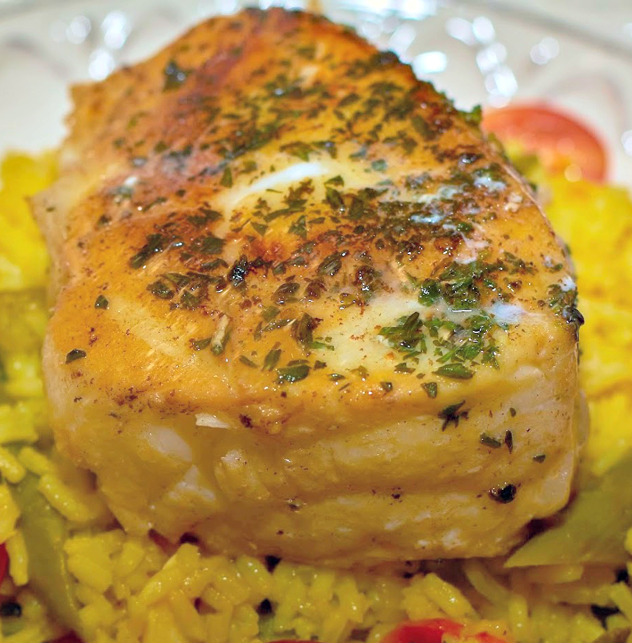 Herb Crusted Halibut with Saffron Rice 2