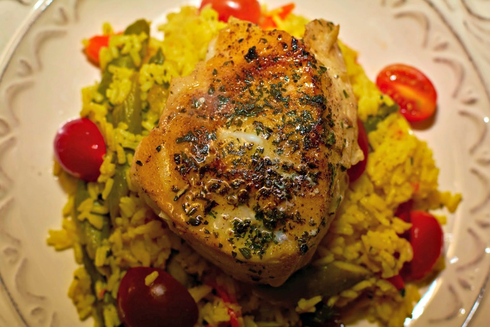 Herb Crusted Halibut with Saffron Rice