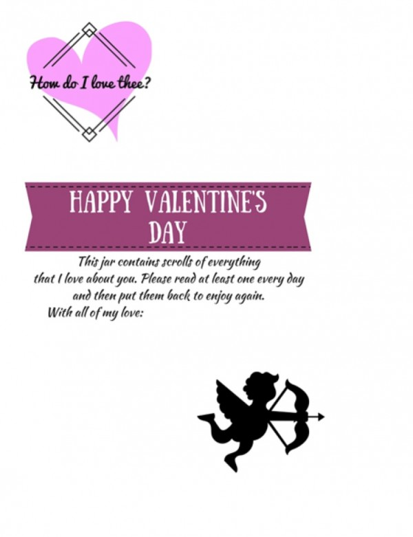 Valentine's Day Jar of Love Printable