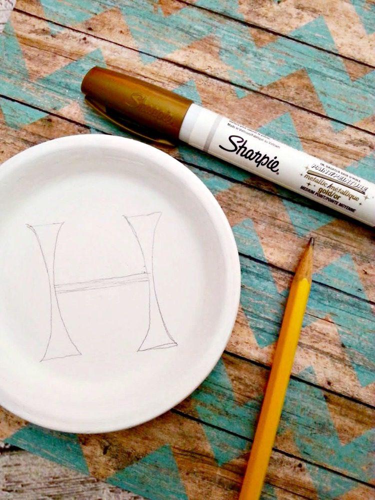 DIY Monogram Trinket Tray 5