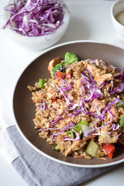 Rainbow Chicken Fried Rice Recipe