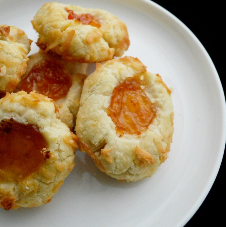 Apricot Coconut Thumbprint Cookies