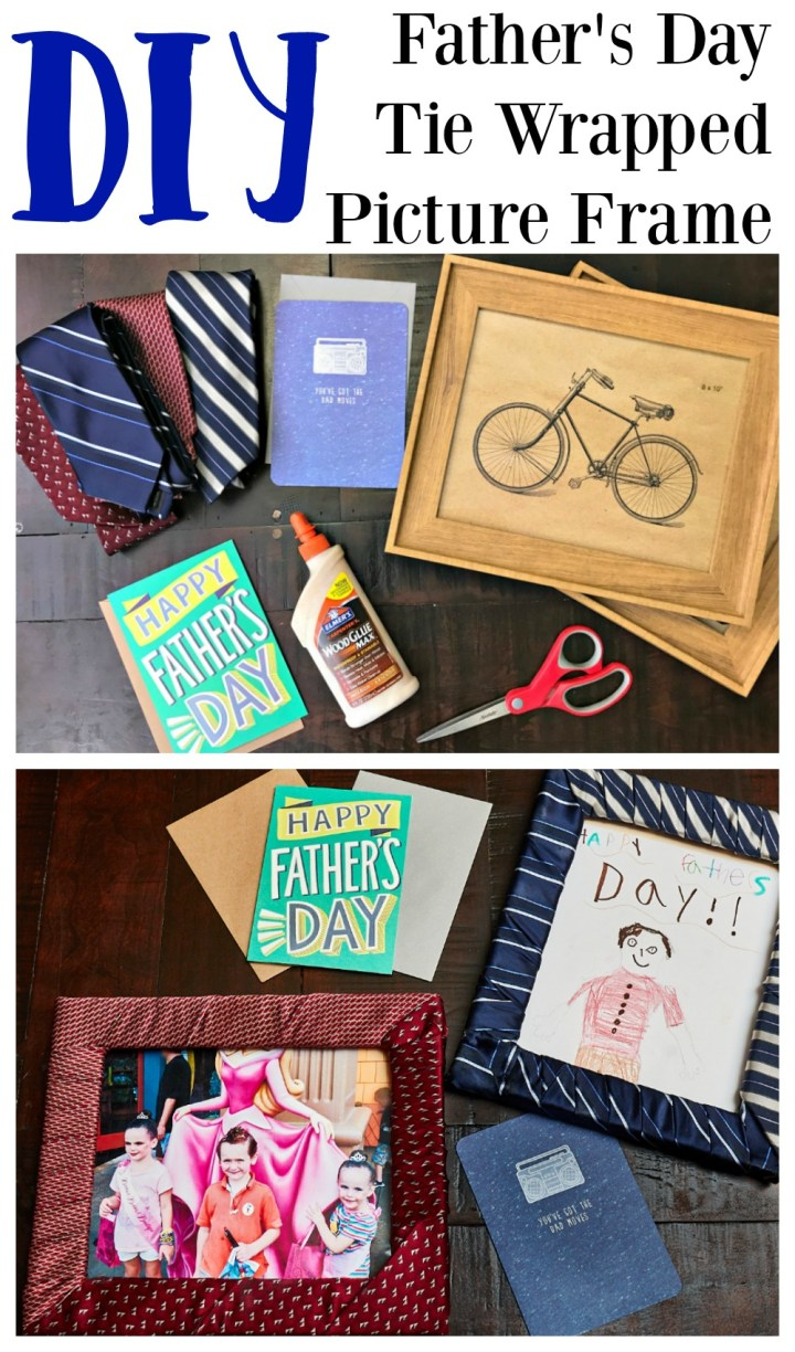 DIY Father's Day Tie Wrapped Picture Frame
