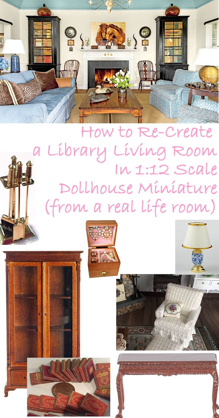 How to Create a Library Living Room in 1/12 Scale -
