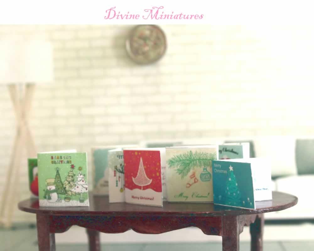 Dollhouse 1:12 scale 6 Miniature  Vintage Christmas  Prints