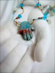 Ceramic glazed Fatima hand