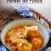 Paneer do pyaza - Indian cottage cheese cooked with onions in rich tomato gravy