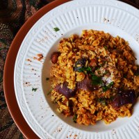 Aubergine rice pilaf with Indian spices (Vaangi Bhaat)