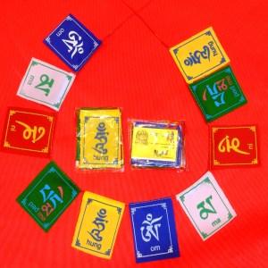 10 mini prayer flags in a horseshoe around 2 additional mini prayer flags