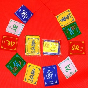 10 mini prayer flags in a horseshoe around 2 additional mini prayer flags