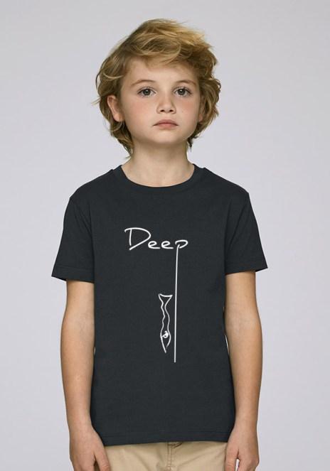 Tee-shirt noir et mixte pour enfants avec le motif Deep - Diving Reflex