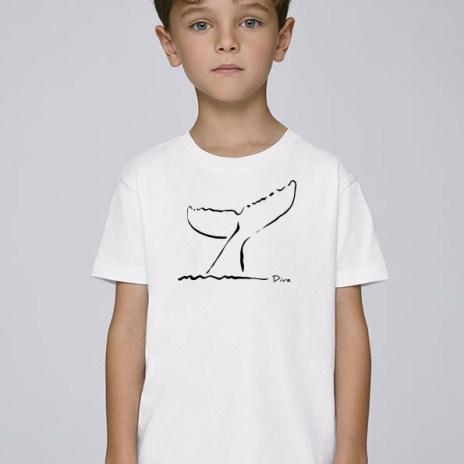 Tee-shirt blanc et mixte pour enfants avec le motif Dive -Diving Reflex