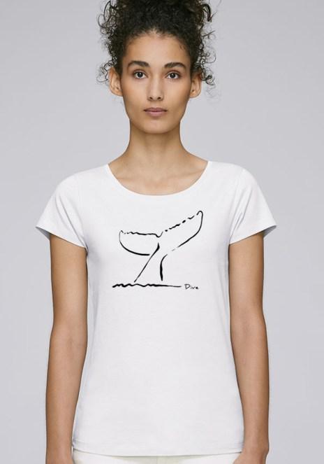 Tee-shirt blanc pour femmes avec le motif Selective - Diving Reflex