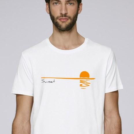 Tee-shirt blanc pour hommes avec le motif Sunset - Diving reflex