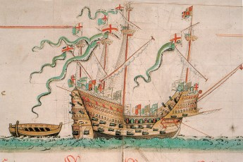 The Mary Rose as depicted in the Anthony Roll (Public Domain)