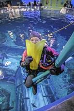 Paul Boissinot making a Force Fin Smile at the Quebec Aquarium. Photo © Jeffrey Gallant   Diving Almanac