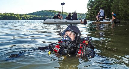 Paul Boissinot during the production of a television show. Photo © Jeffrey Gallant   Diving Almanac