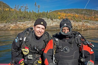 David Doubilet looking for Greenland sharks with Jeffrey Gallant in 2013. Photo © Diving Almanac