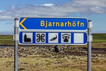 Road sign showing the way to the Bjarnarhöfn shark-museum. Photo © Jeffrey Gallant | Diving Almanac