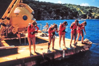 First all-female saturation team in training for Tektite II in 1970. Photo: OAR/NURP
