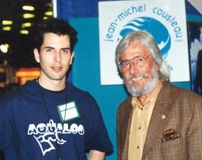 Aqualog Magazine Editor, Jeffrey Gallant, with Jean-Michel Cousteau at Underwater Canada in 1997. Photo © Diving Almanac
