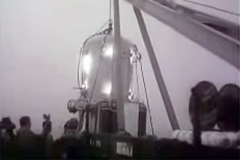 Diving bell used during record dive. Video still from YouTube (View video below | Fair Use)
