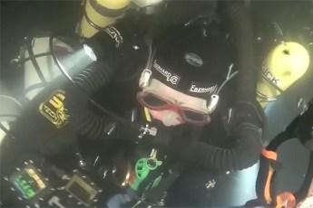 Brigitte Lenoir during record dive. Video still from YouTube (View below | Fair Use)