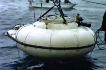 Cousteau's DS-2 is lowered into the water off California. Screenshot by U.S. Navy (Public Domain)