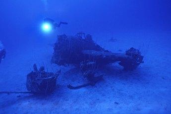 American plane from the USS Saratoga at Bikini Atoll. Photo by Richard Lockett (Creative Commons)