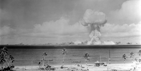 """The atomic cloud during the """"Able"""" nuclear test at Bikini Atoll. Photo by U.S. Navy (Public Domain)"""