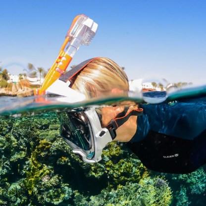 Mască facială snorkeling Ocean Reef Aria QR+, alb