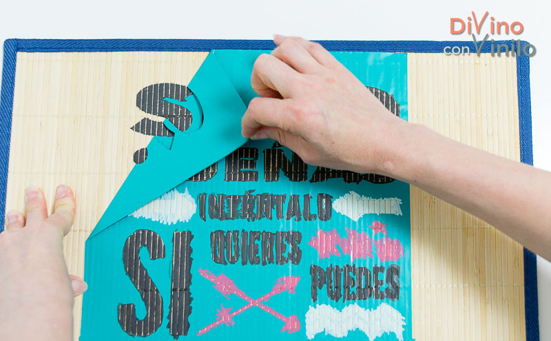 cómo hacer una plantilla de vinilo para personalizar un mantel individual