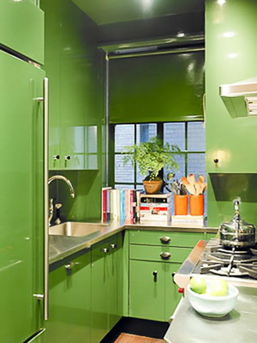 renovar los armarios de la cocina con vinilo color greenery de Pantone