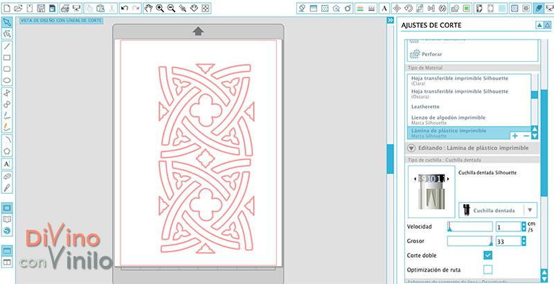 ajustar los parámetros de corte para hacer una plantilla de stencil