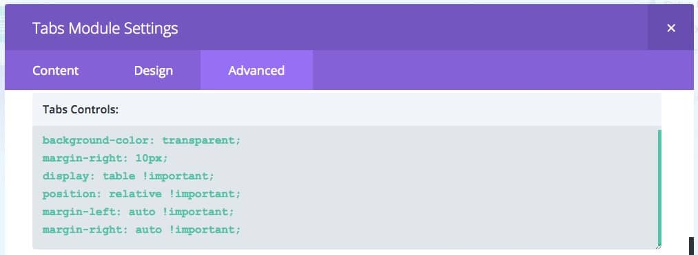 Filterable Gallery: Divi Tabs Module > Advanced > Tabs Controls