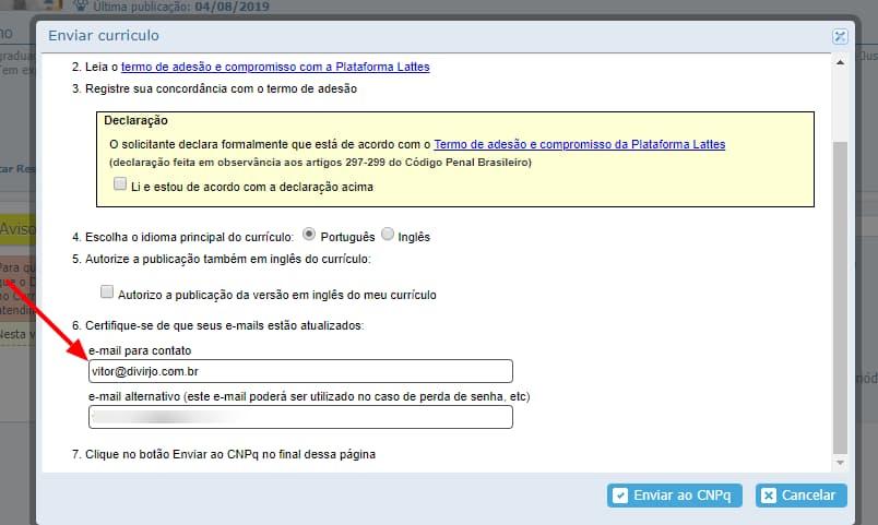 Scrrenshot da tela de envio de e-mails da plataforma Lattes