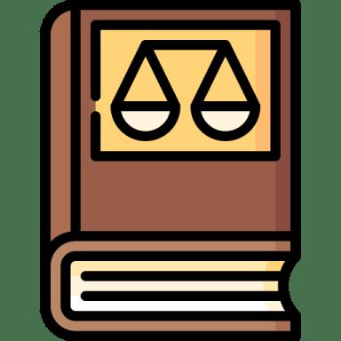 Desenho de um livro com uma balança na capa