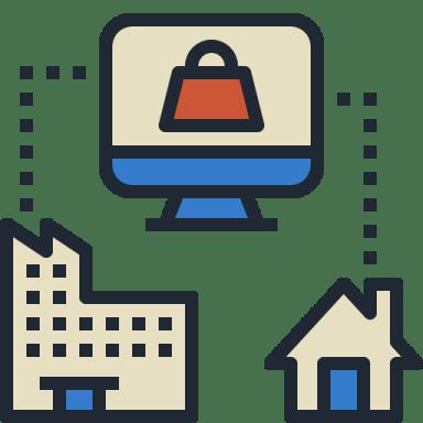 icone de um monitor de computador interligando um prédio à uma casa