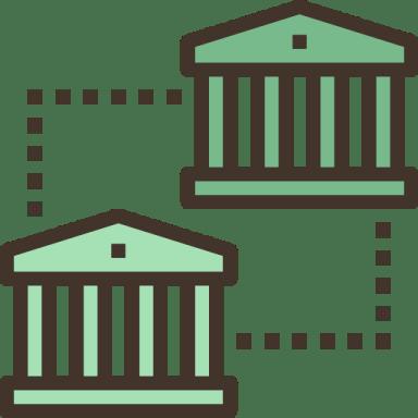 ilustração de duas fachadas de palácios antigos, formadas por grandes colunas