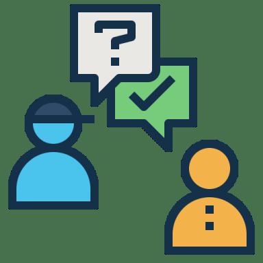 icone de uma pessoa com boné perguntando e outra respondendo