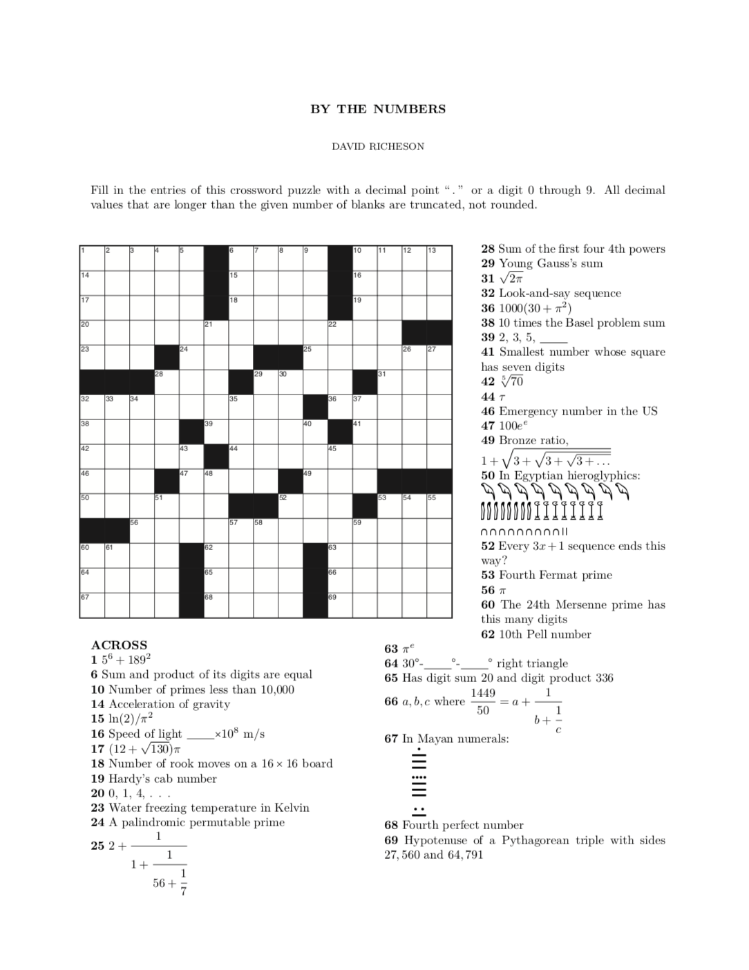 A Numerical Crossword Puzzle David Richeson Division By