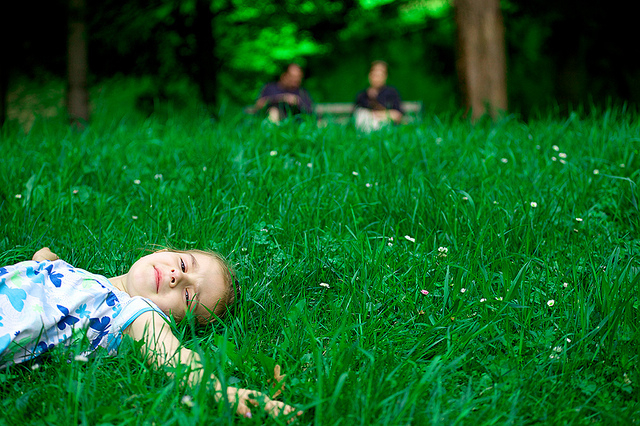 child in grass