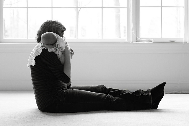 mother and child-black and white