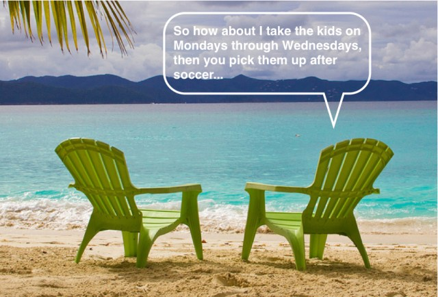 beach chairs under palm with text